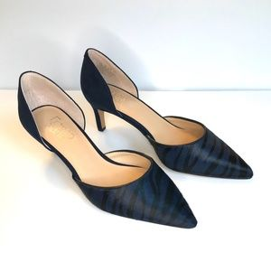 Franco Sarton Blue Zebra Hair on Hide Heels